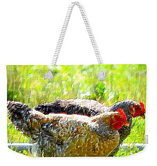 Weekender Tote Bag featuring the photograph Gossip Girls by Barbara Dudley