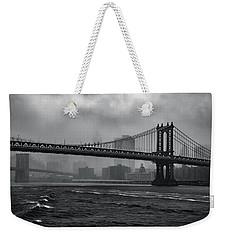 Manhattan Bridge In A Storm Weekender Tote Bag