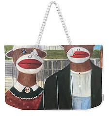 Gothic American Sock Monkeys Weekender Tote Bag by Randy Burns