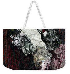 Weekender Tote Bag featuring the mixed media Gothic Punk Goddess by Genevieve Esson