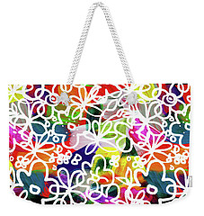 Weekender Tote Bag featuring the mixed media Graffiti Garden 2- Art By Linda Woods by Linda Woods