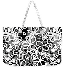 Weekender Tote Bag featuring the mixed media Graffiti Garden - Art By Linda Woods by Linda Woods