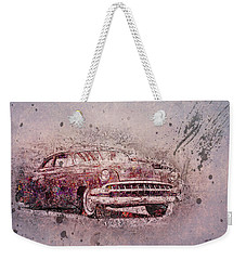 Weekender Tote Bag featuring the photograph Graffiti Merc by Joel Witmeyer