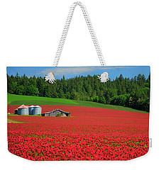 Grain Bins Barn Red Clover Weekender Tote Bag
