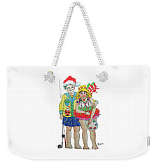 Weekender Tote Bag featuring the painting Gram - Cracker And Papa by Rosemary Aubut