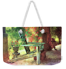 Weekender Tote Bag featuring the digital art Gramma's Front Porch by Lois Bryan