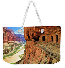 Weekender Tote Bag featuring the painting Grand Canyon Cliff Granaries by Christopher Arndt
