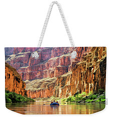 Weekender Tote Bag featuring the painting Grand Canyon Colorado River Rafting by Christopher Arndt