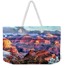 Weekender Tote Bag featuring the painting Grand Canyon Snow by Christopher Arndt