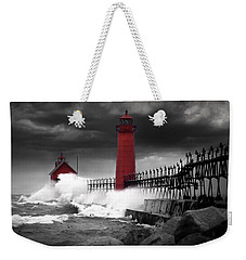 Grand Haven Lighthouse In A Rain Storm Weekender Tote Bag