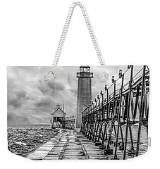 Grand Haven Lighthouse - Monochome Weekender Tote Bag