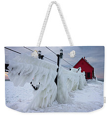 Grand Haven Lighthouse With Ice Weekender Tote Bag