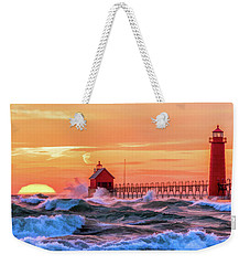 Weekender Tote Bag featuring the painting Grand Haven Lighthouses by Christopher Arndt