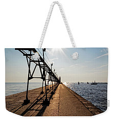 Weekender Tote Bag featuring the photograph Grand Haven Pier by Lars Lentz