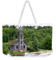 Weekender Tote Bag featuring the photograph Grand Island East Channel Lighthouse #6680 by Mark J Seefeldt