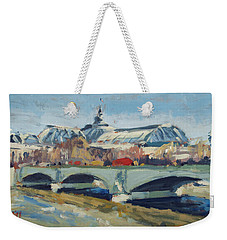 Weekender Tote Bag featuring the painting Grand Palace In Winter Paris by Nop Briex