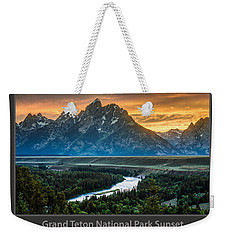 Grand Teton National Park Sunset Poster Weekender Tote Bag by Gary Whitton