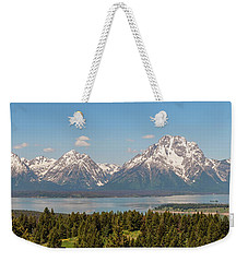 Grand Tetons Over Jackson Lake Panorama Weekender Tote Bag