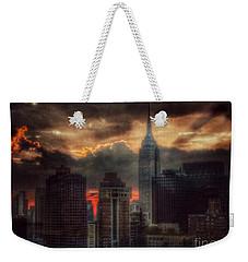 Grandeur Of The Past - Empire State At Sunset Weekender Tote Bag by Miriam Danar