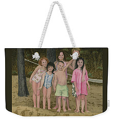 Weekender Tote Bag featuring the painting Grandkids On The Beach by Ferrel Cordle