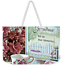 Weekender Tote Bag featuring the photograph Grandma Tell Me Your Memories... by Sherry Hallemeier