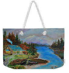 Weekender Tote Bag featuring the painting Grandmas Cabin by Leslie Allen