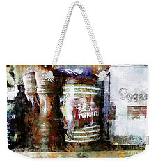 Weekender Tote Bag featuring the photograph Grandma's Kitchen Tins by Claire Bull