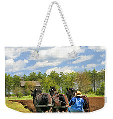 Weekender Tote Bag featuring the painting Grandpa And His Team Of Horses At Old World Wisconsin by Christopher Arndt