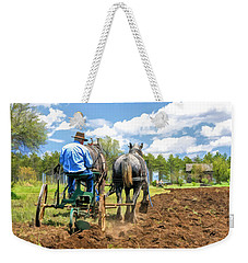 Weekender Tote Bag featuring the painting Grandpa At The Plow At Old World Wisconsin by Christopher Arndt
