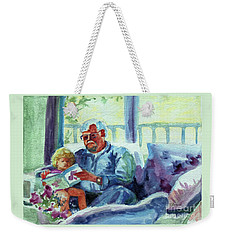Weekender Tote Bag featuring the painting Grandpa Reading by Kathy Braud
