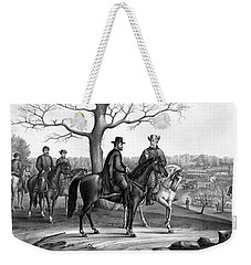Weekender Tote Bag featuring the mixed media Grant And Lee At Appomattox by War Is Hell Store