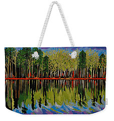 Weekender Tote Bag featuring the painting Grant's Lake Reflections by Kathleen Sartoris