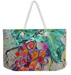 Weekender Tote Bag featuring the painting Grape Vine Fiesta by Ella Kaye Dickey