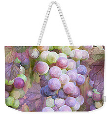 Weekender Tote Bag featuring the mixed media Grapes Of Many Colors by Carol Cavalaris