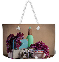 Grapes With Wine Stoppers Weekender Tote Bag by Tom Mc Nemar