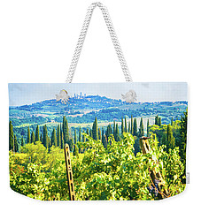 Weekender Tote Bag featuring the photograph Grapevine In San Gimignano Tuscany by Silvia Ganora