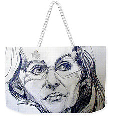 Weekender Tote Bag featuring the drawing Graphite Portrait Sketch Of A Woman With Glasses by Greta Corens