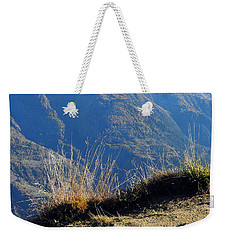 Grass In The Foreground, The Main Valley Of The Swiss Canton Of Valais In The Background Weekender Tote Bag