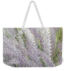 Weekender Tote Bag featuring the photograph Grass Is More - Nature In Purple And Green by Ben and Raisa Gertsberg