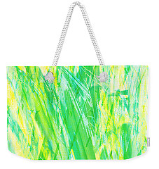 Weekender Tote Bag featuring the painting Grassy Abstract In Yellow Green Aqua White by Menega Sabidussi