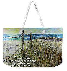 Grassy Beach Post Morning Psalm 118 Weekender Tote Bag