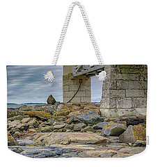 Weekender Tote Bag featuring the photograph Gray Day At Marshall Point by Rick Berk