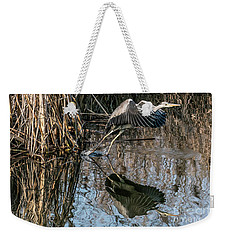 Gray Heron Flew Up Weekender Tote Bag