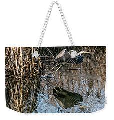 Gray Heron Flew Up Weekender Tote Bag by Odon Czintos