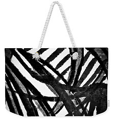 Weekender Tote Bag featuring the painting Gray Lines by Joan Reese