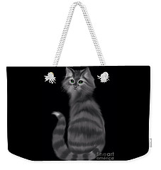 Weekender Tote Bag featuring the painting Gray Striped Cat by Nick Gustafson