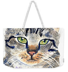 Gray Tabby Cat Watercolor Weekender Tote Bag