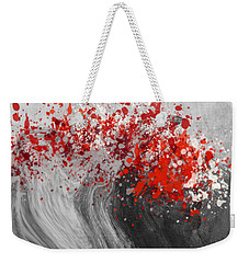 Gray Wave Turning Red Weekender Tote Bag by Jessica Wright