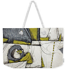 Gray, White, Green Gold  Weekender Tote Bag