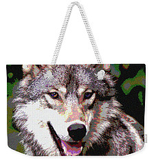 Weekender Tote Bag featuring the mixed media Gray Wolf by Charles Shoup